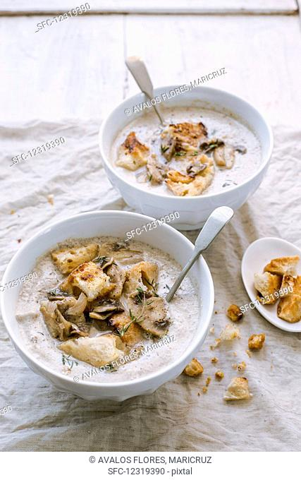Mushroom soup served with croutons in small bowls