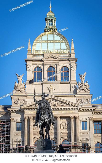 Front view of a sculpture of a warrior, triumphantly on a horse in Prague - Czech Republic