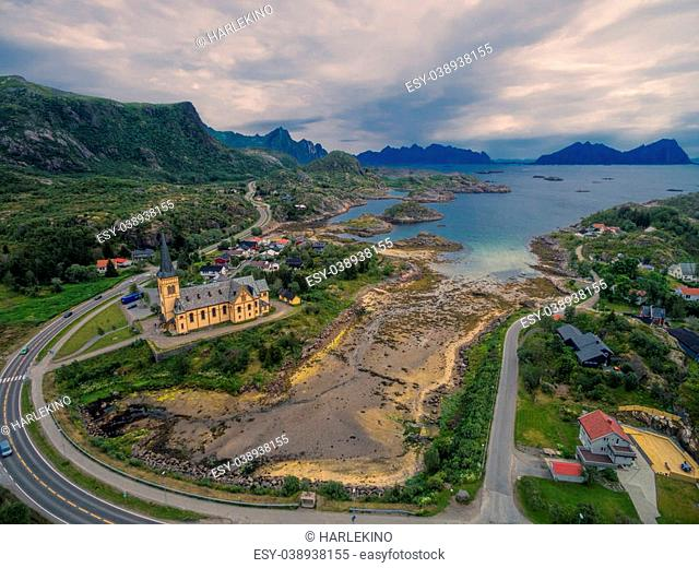 Vagan church also known as Lofoten cathedral. Famous landmark on Lofoten islands, aerial view