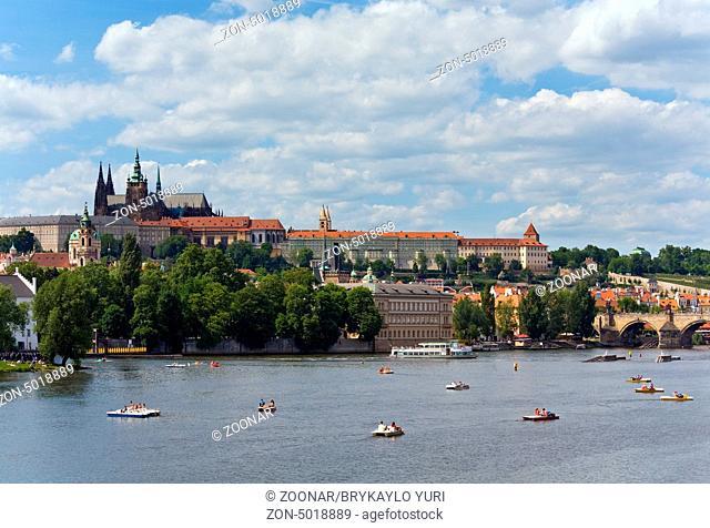 Summer Vltava river view, Prague, Czech Republic