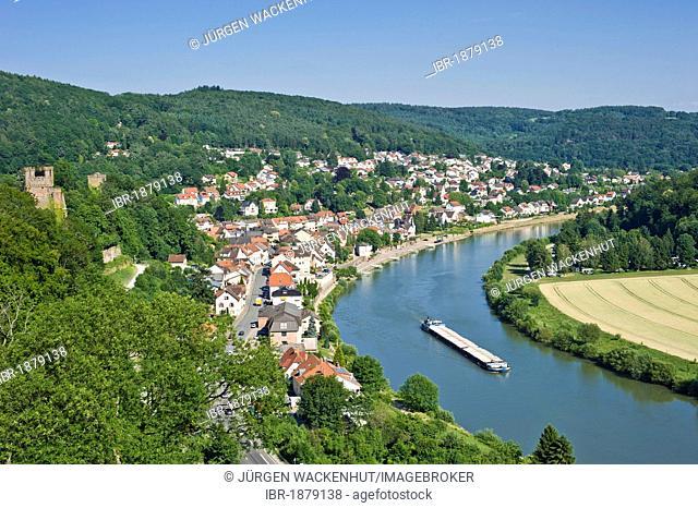 View from Hinterburg Castle, Neckarsteinach, Neckar Valley-Odenwald nature park, Hesse, Germany, Europe