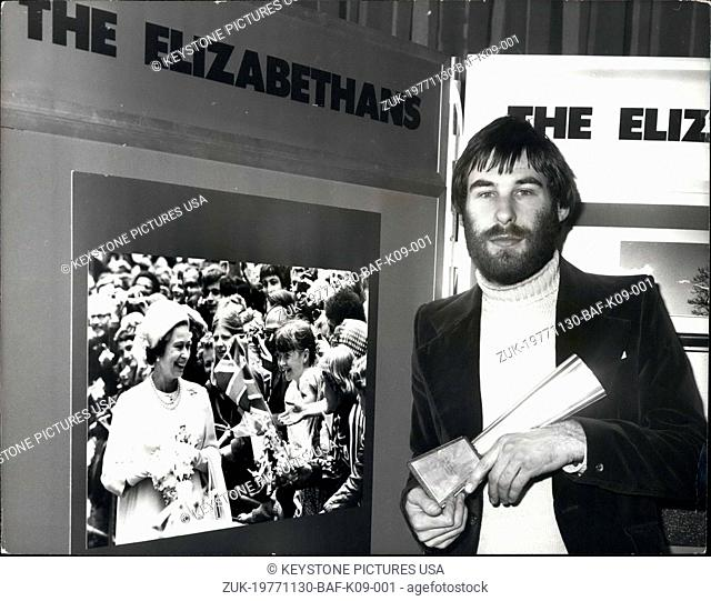 Nov. 30, 1977 - Photographer Of The Year Dave Ashdown Of Keystone: Wit his picture Keystone Cameraman Dave Ashdown, won the title Ilford photographer of the...