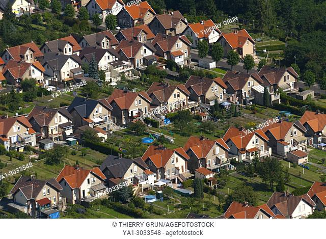 France, Moselle (57), Freyming Merlebach, coal miners residential aerea called cité Hochwald (aerial view)