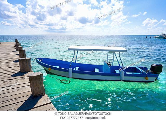 Puerto Morelos beach boats in Mayan Riviera Maya of Mexico