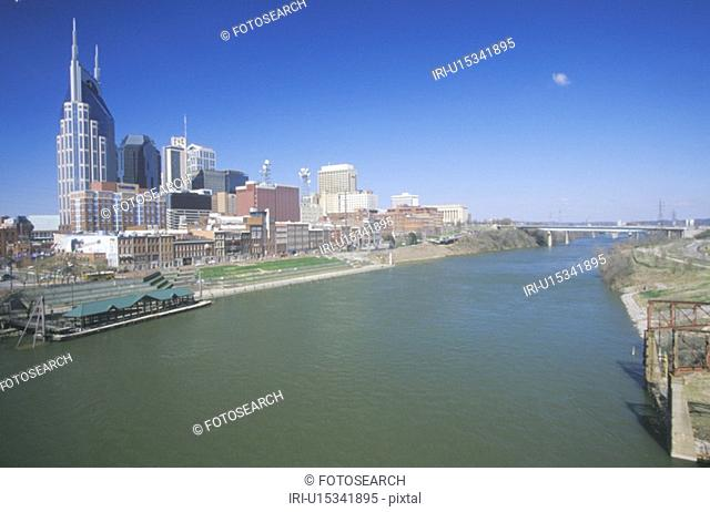 State capitol, Nashville skyline with Cumberland River in foreground