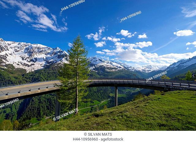 Mountain road and snow-capped mountain in ticino Switzerland, Europe