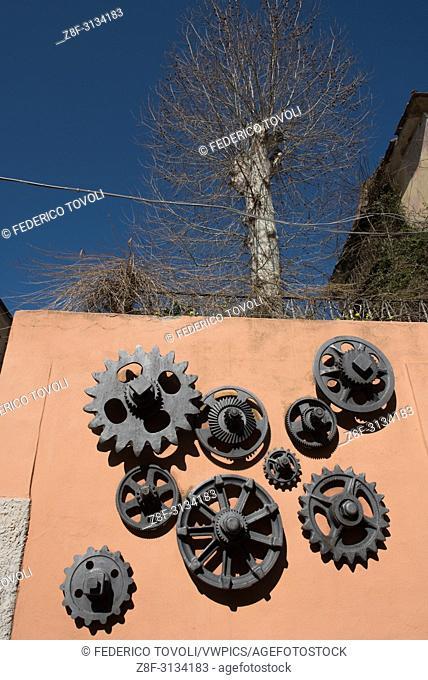 Art work near Mine museum of Rio Marina ( palazzo del Buro') author Kurt and Helga Mergenthal