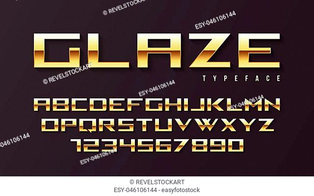 Glaze vector shiny golden display font design, alphabet, character set, typeface, typography, letters and numbers. Swatch color control