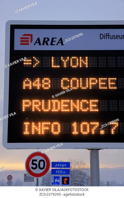 Tolls and A48 highway, AREA, between Lyon and Grenoble, cut to traffic in the direction Grenoble - Lyon due to snow and ice, Chartreuse, Alpes, Rhone-Alpes
