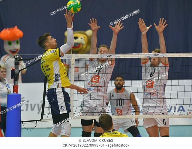 L-R Bartosz Bednorz (Modena), Daan Van Haarlem and Trent O'Dea (both Karlovy Vary) in action during the 6th round group B of volleyball Champions League match...