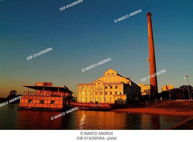 sunset in porto alegre city