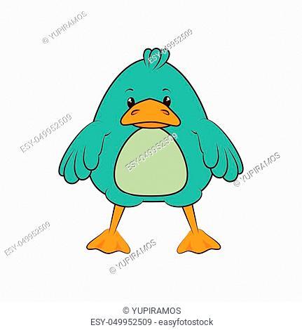 blue duck animal blue cartoon character vector illustration