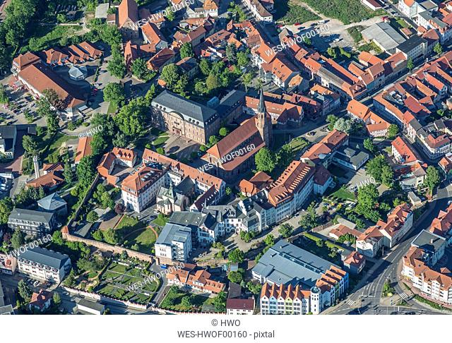Germany, Heilbad Heiligenstadt, aerial view of the city with St Martin's Church and Mainzer Schloss