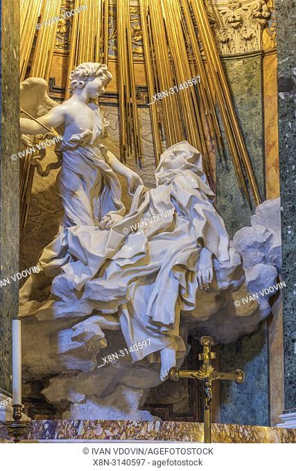 Statue Ecstasy of St. Teresa, Gian Lorenzo Bernini, Church of Saint Mary of Victory, Santa Maria della Vittoria, Rome, Lazio, Italy