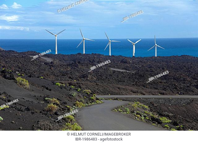Wind turbines at the Faro de Fuencaliente, South coast, La Palma, Canary Islands, Spain, Europe, Atlantic Ocean