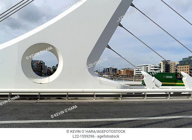 Samuel Beckett Bridge is a cable-stayed bridge in Dublin that joins Sir John Rogerson's Quay on the south side of the River Liffey to Guild Street and North...