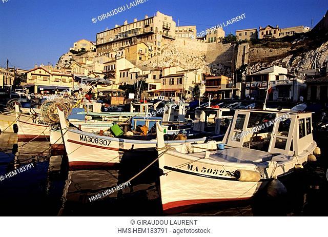 France, Bouches du Rhone, Marseille, Vallon des Auffes, pointus boats traditional Mediterranean boats
