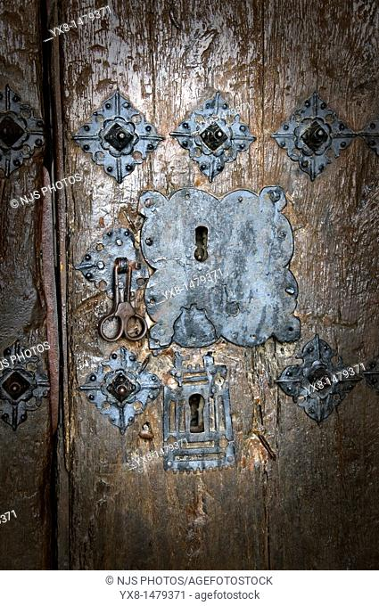Detail of Saint Esteban church's lock, Romanesque origin, Sos del Rey Catolico, Cinco Villas, Zaragoza province, Aragon, Spain