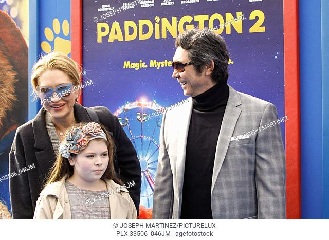 "Lou Diamond Phillips, Indigo Sanara Phillips, Yvonne Marie Boism at the Premiere of Warner Bros' """"Paddington 2"""" held at the Regency Village Theatre in..."