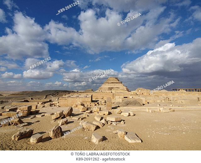 Pyramif of Zoser. Archeological remains. Saqqara necropolis. Egypt