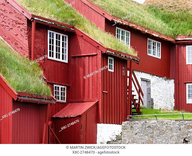 Peninsula Tinganes with old town and the red houses of the government district. Torshavn (Thorshavn) the capital of the Faroe Islands on the island of Streymoy...