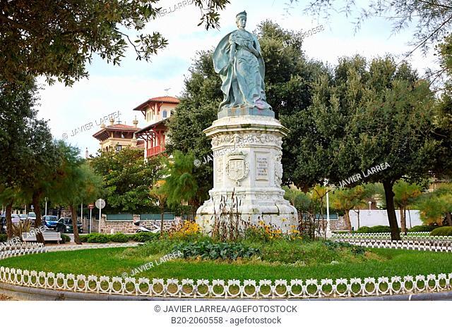 Monument to Queen Maria Cristina, Avenida Satrustegi in El Antiguo neighbourhood, Donostia (San Sebastian), Gipuzkoa, Basque Country, Spain