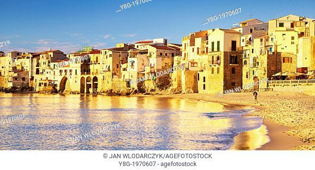 Cefalu medieval houses on the seashore, Cefalu (Cefaú) Sicily, Italy