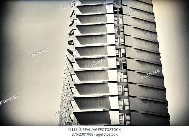 Close-up of a building of modern architecture. Hotel in Tel Aviv, Israel, Middle East