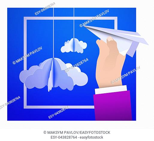 Male hand holding a paper plane against the sky with paper clouds in the style of origami. Vector illustration