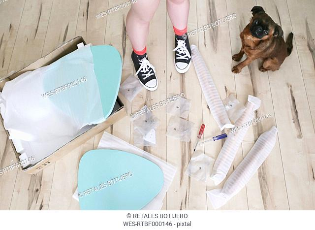 Woman's legs surrounded by unassembled table pieces with her dog