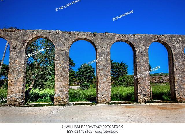 Ancient Usseira Aqueduct Obidos Portugal. Aqueduct created in 1575