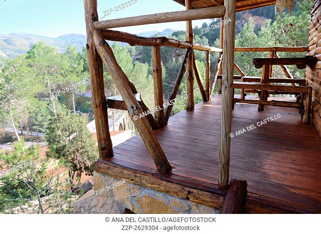 Montanejos village, wood mountain shelter balcony in Castellon Spain
