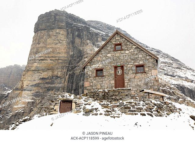 The Alpine Club of Canada's Abbot Pass hut, on the Continental Divide and the British Columbia / Alberta border, near Lake Louise, Alberta, Canada