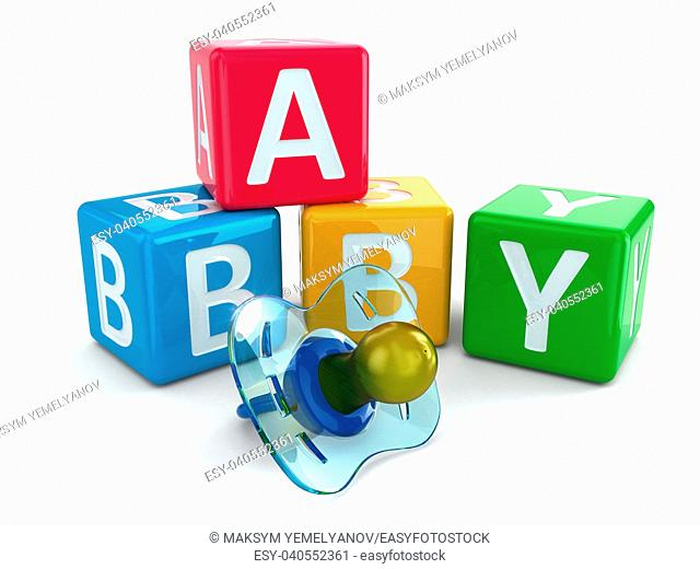 Dummy or pacifier and buzzword blocks with word baby. 3d