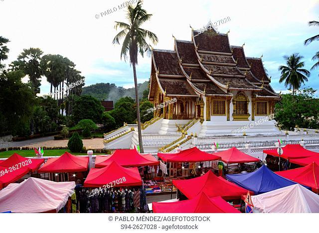 Street Thanon Sisavangvong and temple Wat Ho Pha Vang of Luang Prabang, Laos