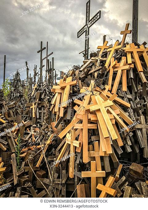 Crosses piled up at shrine at Sanctuary of Our Lady of Sorrows in the Holy Water - the church of Our Lady of Sorrows located on the Swieta Woda hill, Poland
