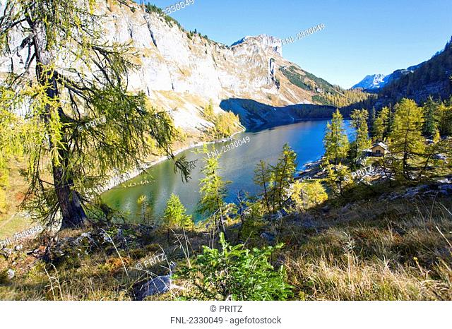 High angle view of lake surrounded by mountains, Vorderer Lahngangsee, Ausseer Land, Totes Gebirge, Salzkammergut, Austria