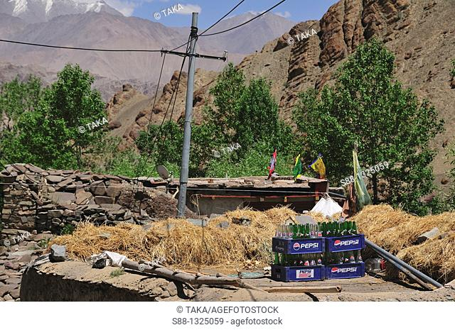Hemis village where Tibetan Buddhist high landers live Even midsummer it is cold and air is thin. Jammu and Kashmir, India