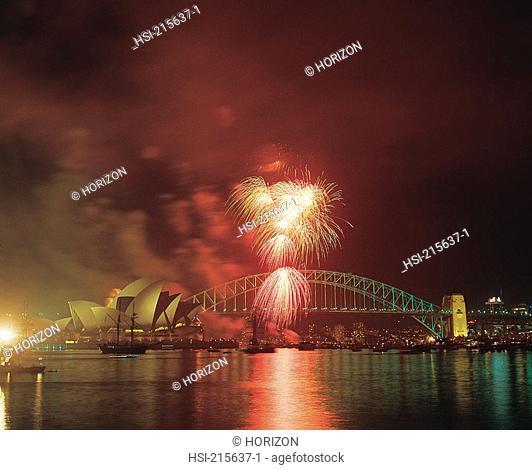 Travel, Australia, New South Wales, Sydney, Harbour Bridge & Opera House, Fireworks