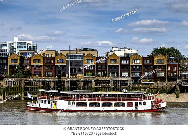 The Elizabethan Paddle Steamer On The River Thames, London, England