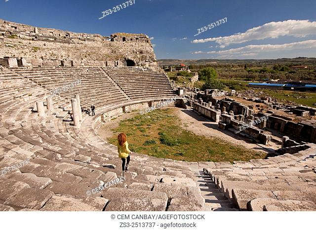 Tourists at the ancient amphitheater in the ruins of Miletus, Milet, Aydin Province, Turkey, Europe