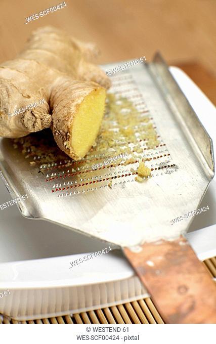 Ginger root on japanese grater