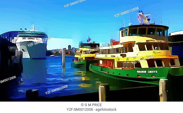 graphically reprocessed photograph of Sydney ferries and cruise ship at Circular Quay, Sydney
