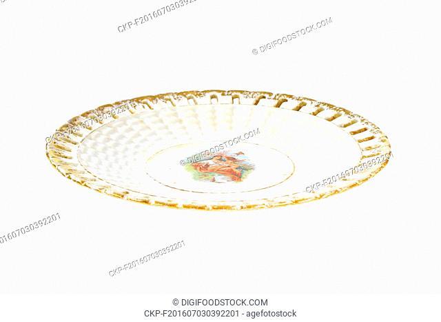 Old painted ornate dessert plate