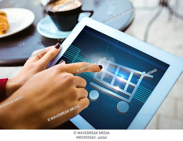 Person using Tablet with Shopping trolley icon