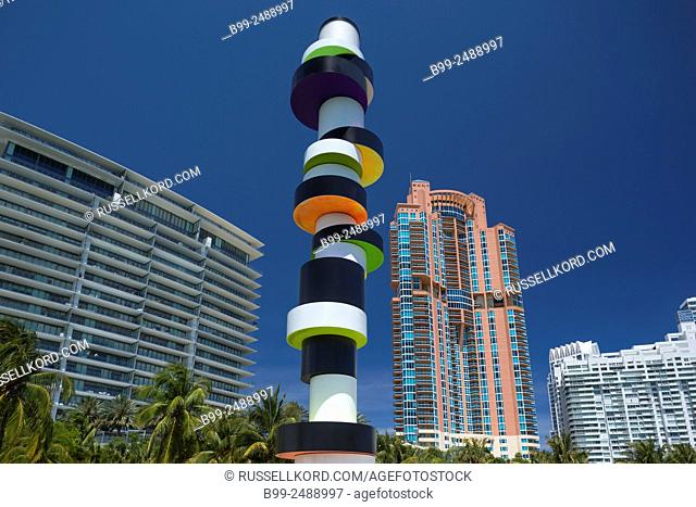Tobias Rehberger Obstinate Lighthouse Sculpture South Pointe Park Miami Beach Florida Usa