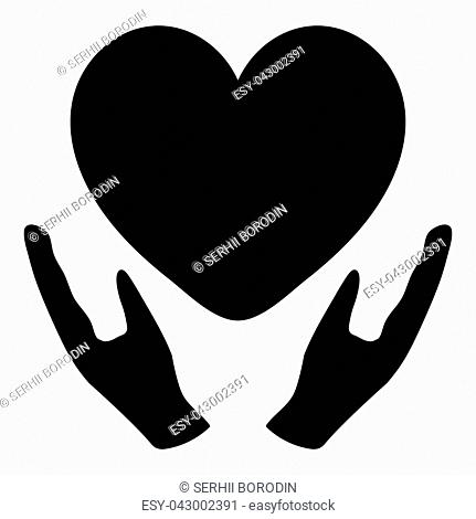 Heart in care hand black color simple style
