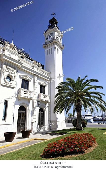 Clock tower building at americas cup harbor in Valencia, Spain