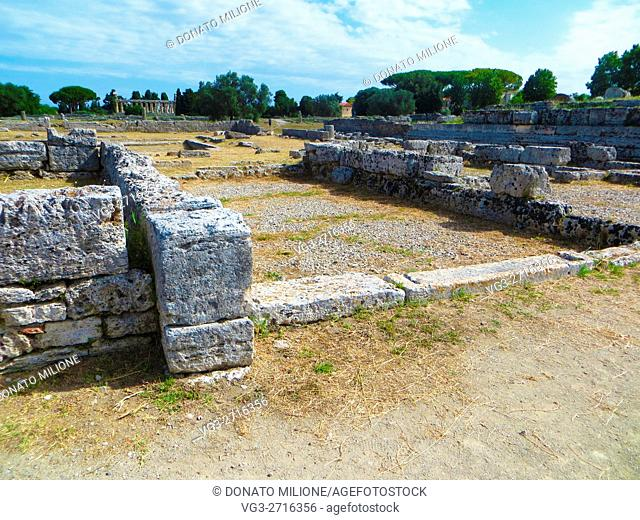 Paestum (Capaccio, SA, Cilento, Campania, Italy). Remains of Tabernae in the archaeological site of Poseidon, greek city of Magna Graecia renamed Paestum by the...