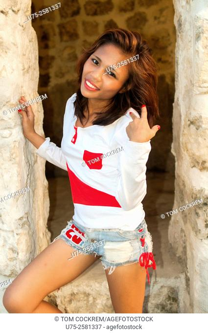 Attractive Asian woman on location in Fort San Pedro, Cebu, Philippines